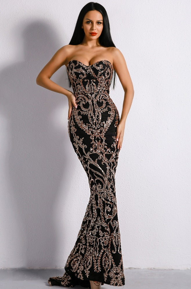 QUEEN CONSORT OF SEX APPEAL BLACK SEQUIN LONG DRESS
