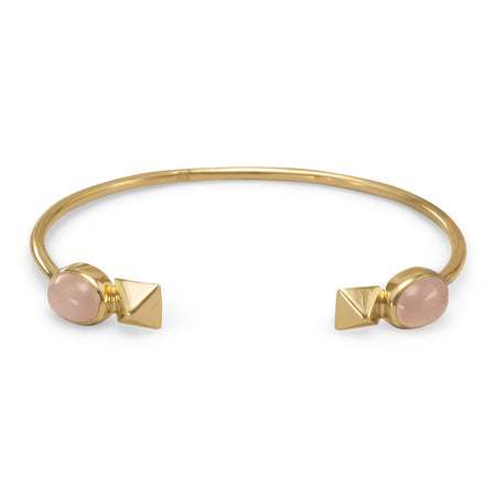 14 Karat Gold Plated Cuff Bracelet with Peach Moonstone Ends