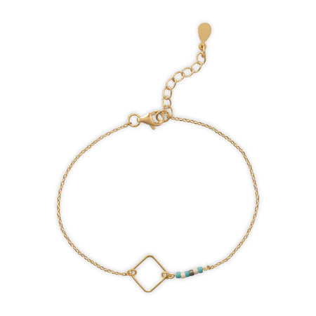 14 Karat Gold Plated Bracelet with Large Square Link and Glass Seed Beads
