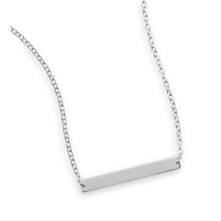 "16"" + 2"" Thin Engravable Bar Nameplate Necklace"