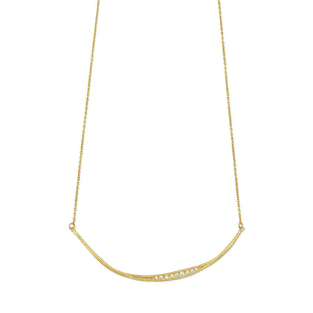 "16.5"" + 1"" Textured 14 Karat Gold Plated CZ Bar Necklace"