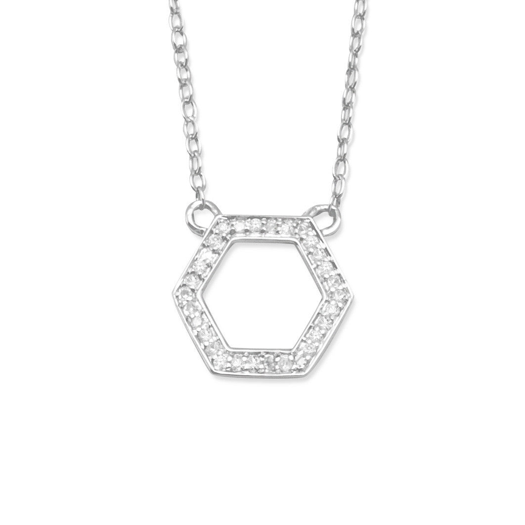 Rhodium Plated Hexagon Necklace with Diamonds