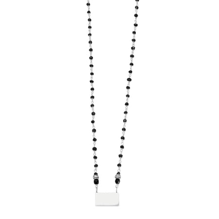 Black Spinel Bead Necklace with Engravable Tag - Oja Esho