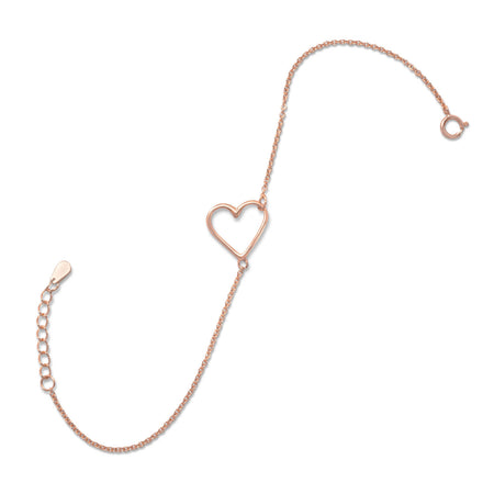 14 Karat Rose Gold Plated Sideways Heart Bracelet