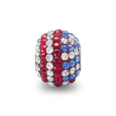 American Flag Crystal Bead