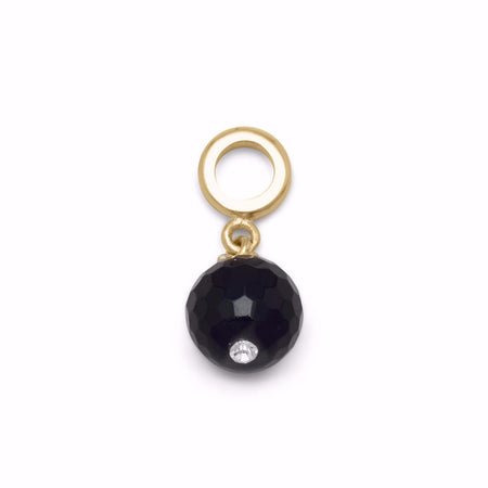 14 Karat Gold Plated Black Onyx Charm Bead