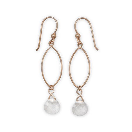 14 Karat Rose Gold Plated Clear Glass Drop Earrings