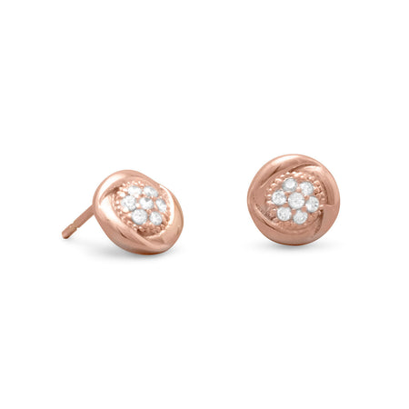 Round 14 Karat Rose Gold Plated CZ Stud Earrings