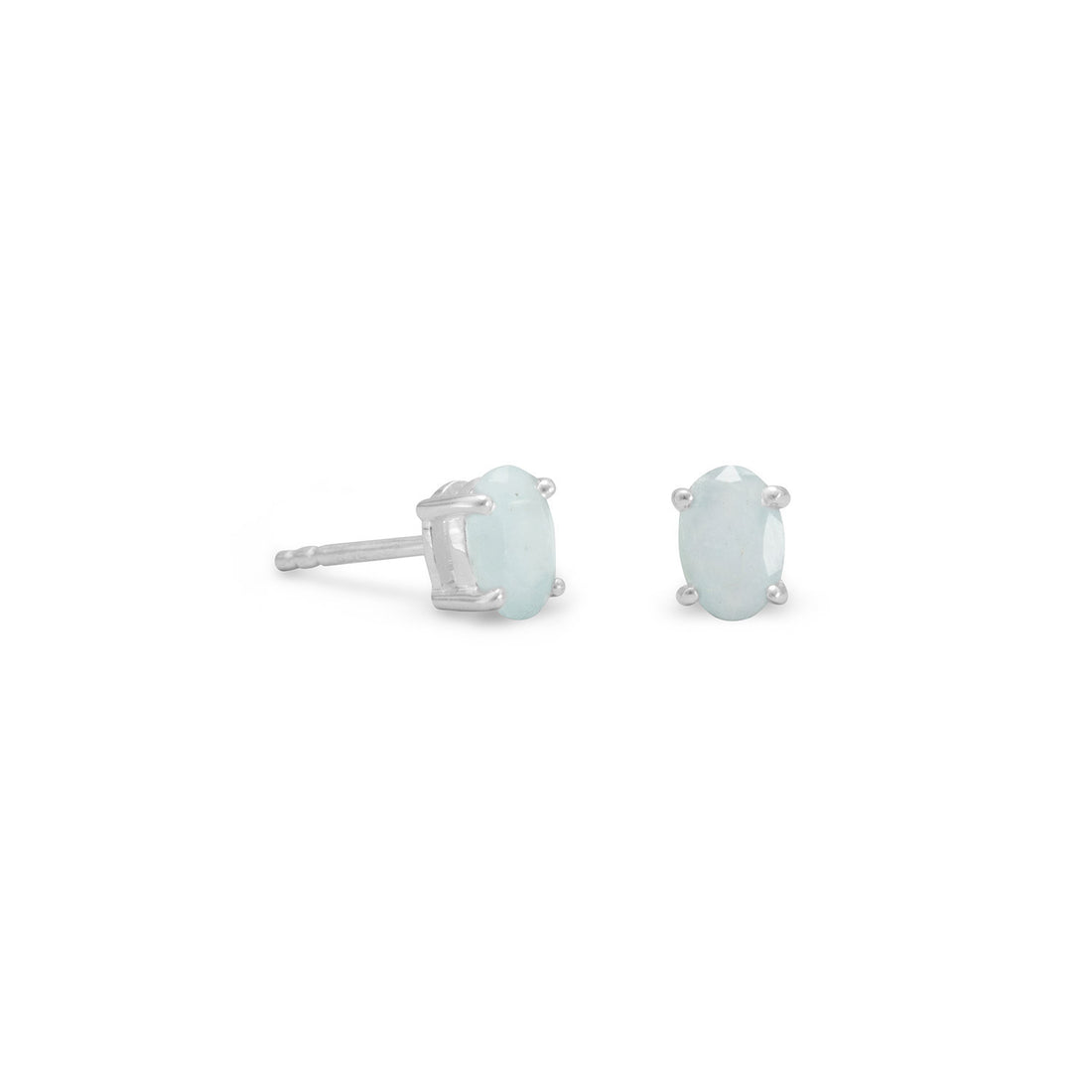 Faceted Oval Aquamarine Earrings
