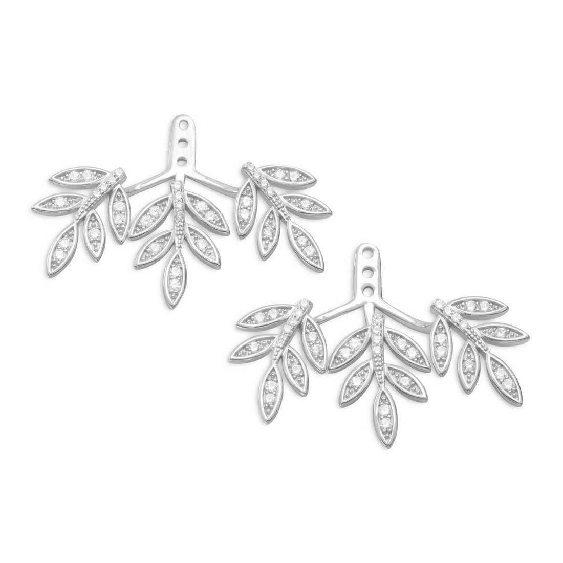 Rhodium Plated Signity CZ Earring Backs in Branch Design