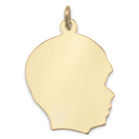 14/20 Gold Filled Engravable Boy's Silhouette Pendant - Oja Esho