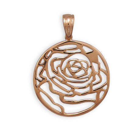 14 Karat Rose Gold Plated Cut Out Rose Pendant