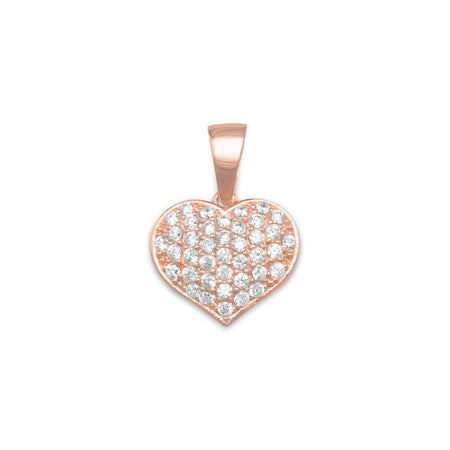 14 Karat Rose Gold Plated Pave CZ Heart Pendant