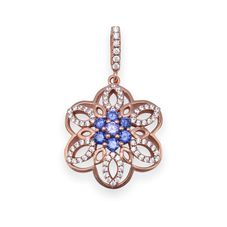 14 Karat Rose Gold Plated CZ Flower Pendant