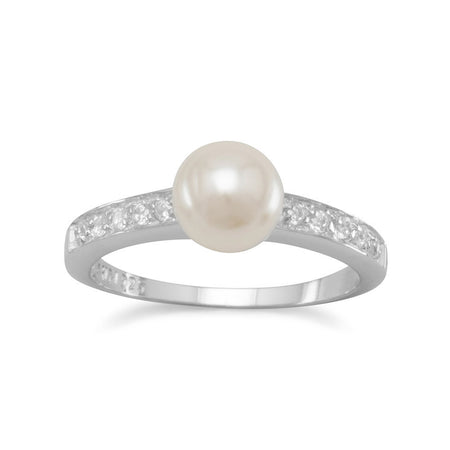 Rhodium Plated CZ and Simulated Pearl Ring