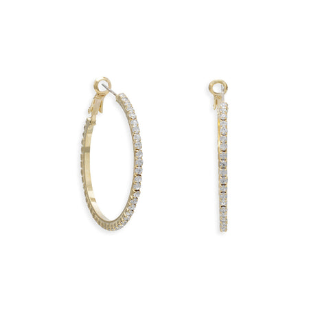 Gold Tone Crystal Fashion Hoop Earrings