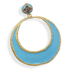 14 Karat Gold Plated Turquoise Epoxy Fashion Pendant