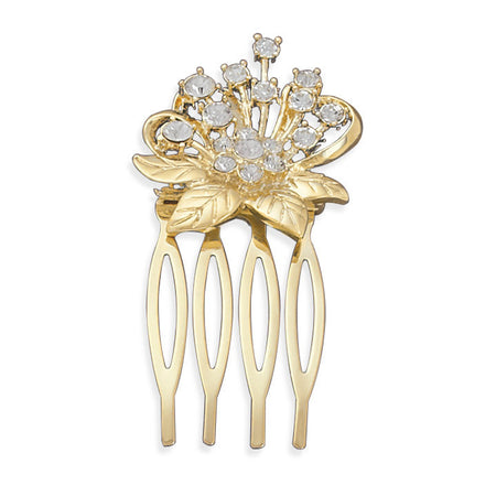14 Karat Gold Plated Crystal Flower Fashion Hair Comb