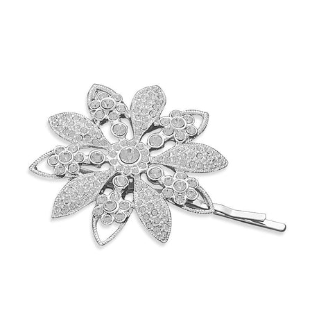 Silver Plated Crystal Flower Fashion Bobby Pin