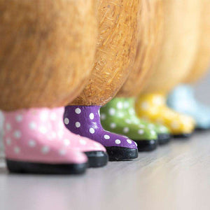 Dinky Wooden Duck in Yellow Spotty Welly Boots - Duck Barn Interiors