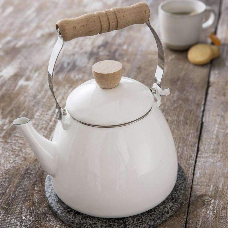 Enamel Stove Kettle in Chalk White-Duck Barn Interiors
