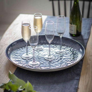 Fiskardo Round Blue Drinks Tray - Duck Barn Interiors