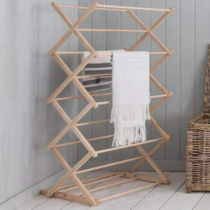 Folding Wooden Clothes Horse - Beech - Duck Barn Interiors