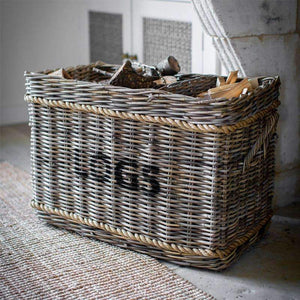 Log Basket with Rope, Rectangular - Rattan-Duck Barn Interiors