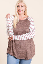 Mocha Contrast Baseball Sleeve Top-Plus