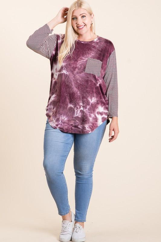 Burgundy Tie Dye With Striped Sleeves-Plus