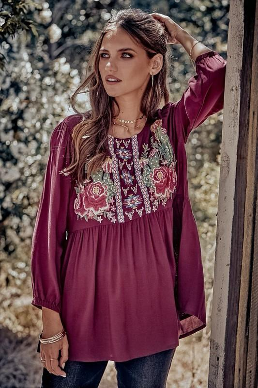 Burgundy Baby-Doll Tunic With Floral Embroidery