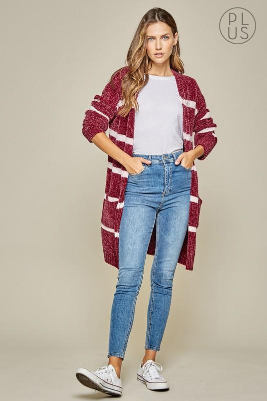 Burgundy And Ivory Striped Long Cardigan-Plus - Bohemian Bangles