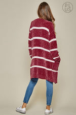 Burgundy And Ivory Striped Long Cardigan-Plus