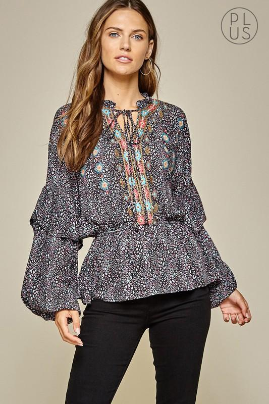 Multi-Color Leopard Bohemian Blouse-Plus