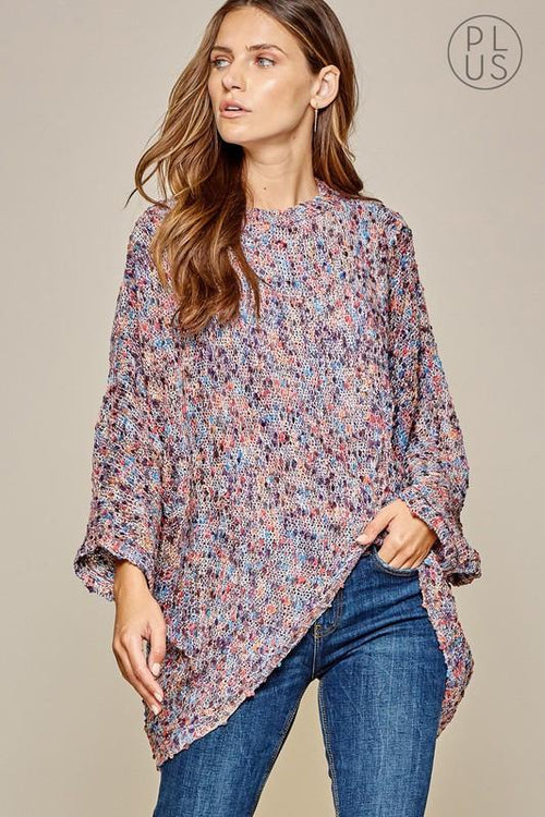 Multi Purple Poncho Cardigan-Plus - Bohemian Bangles