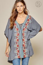 Blue Woven Embroidered Tunic-Plus - Bohemian Bangles