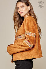 Southwest Embroidered Faux Fur Coat-Plus