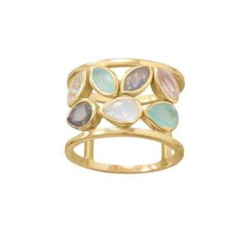 14 Karat Gold Plated Multi Stone Ring - Ring - boho-bangles