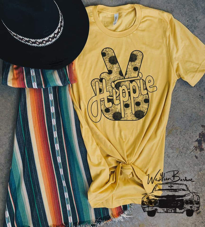 Yellow 'Hippie' Peace Graphic Tee, Top, Western Barbie, Bohemian Bangles