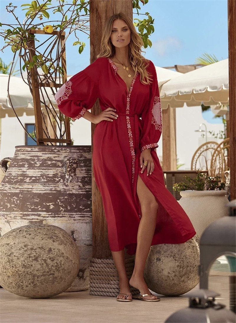 Red Maxi Beach Dress, Beach Cover Up, Edolynsa, Bohemian Bangles