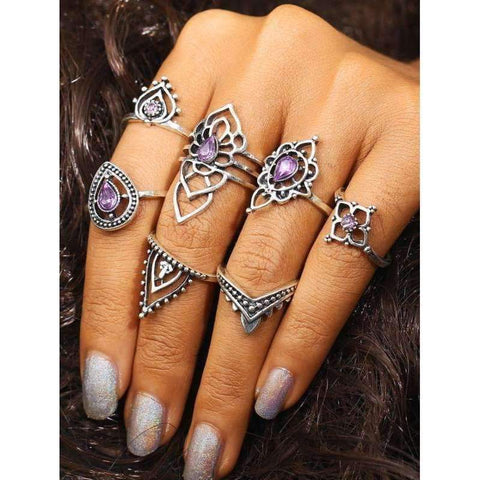 Amara Purple Boho Crystal Ring Set-Sizes 6/7 - Ring - boho-bangles