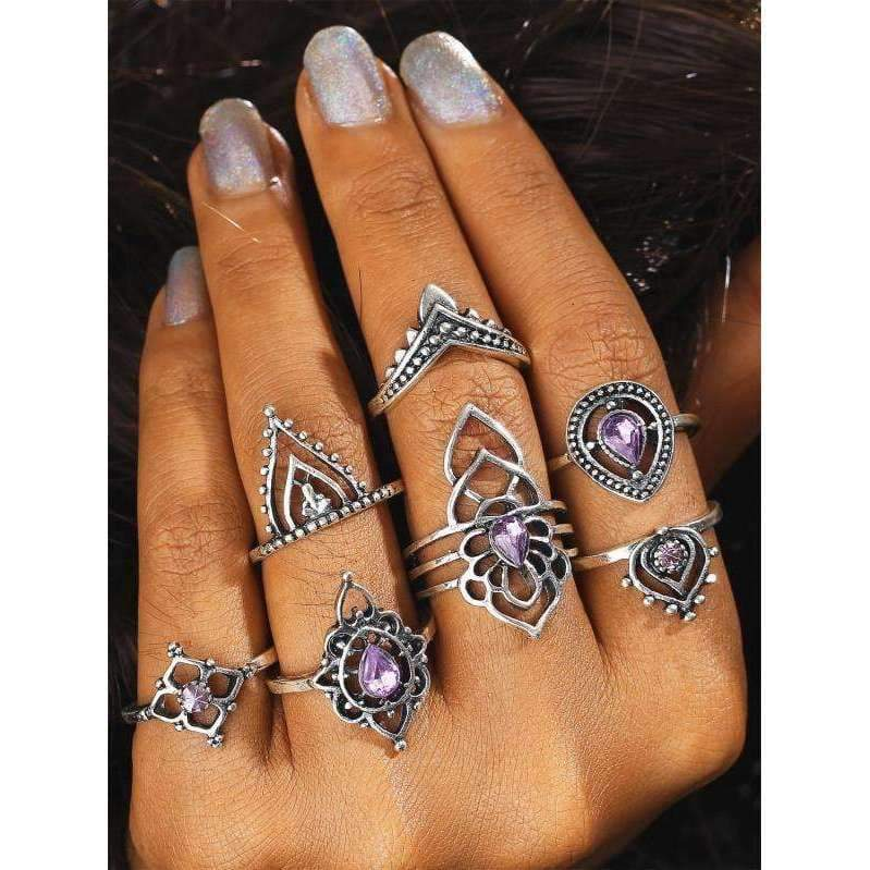 Amara Purple Boho Crystal Ring Set-Sizes 6/7, Ring, Bohemian Bangles, Bohemian Bangles