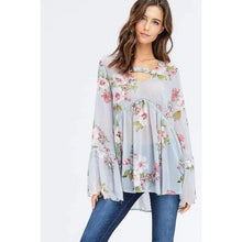 Ariana Floral Chiffon Scalloped Blouse - Top - boho-bangles