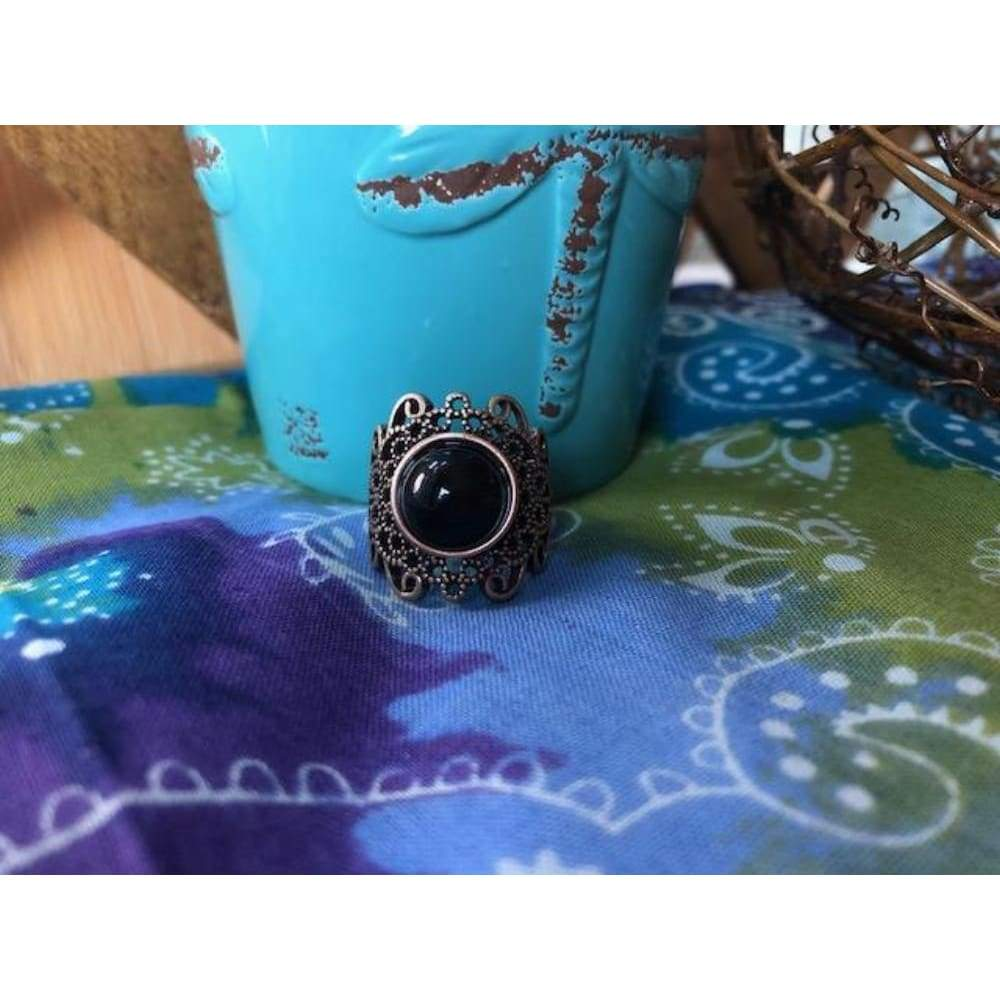 Black Beauty Filigree Ring - Ring - boho-bangles