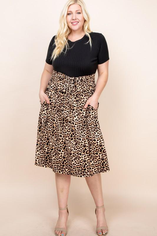 Black And Leopard Midi Dress - Bohemian Bangles