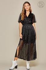 Tiny Stars-Black Short Sleeve Maxi Dress