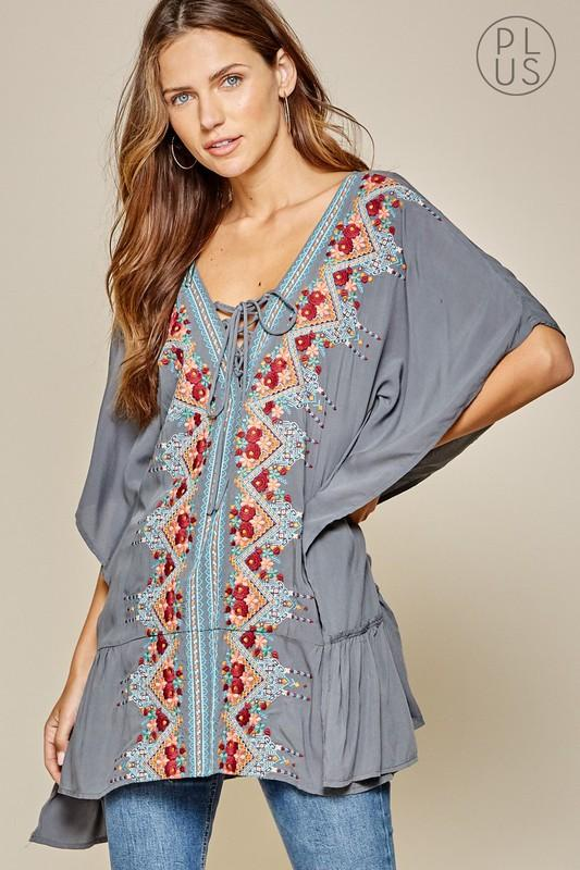 Blue Woven Embroidered Tunic-Plus