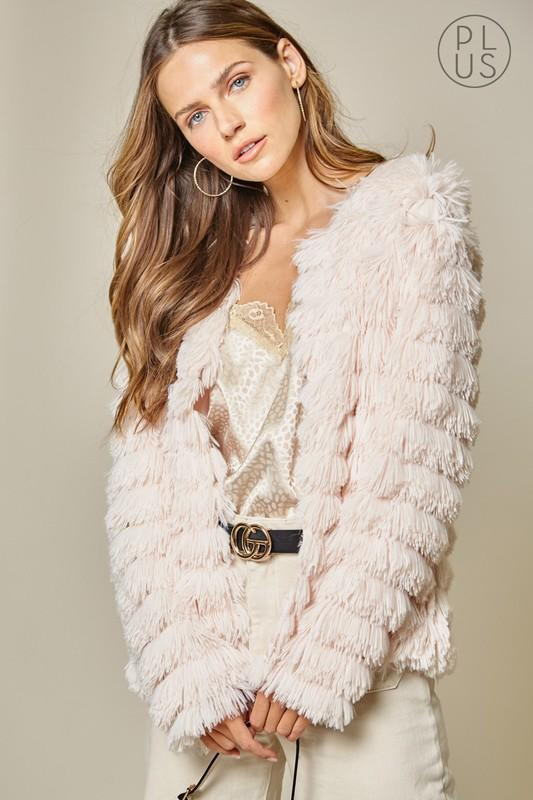 Blush Faux Fur Coat-Plus - Bohemian Bangles