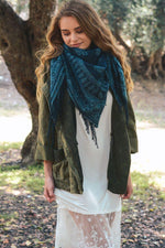 Navy Moroccan Square Blanket Scarf