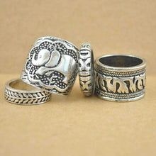 Boho Elephant Ring Set-Four Rings, Ring, Bohemian Bangles, Bohemian Bangles